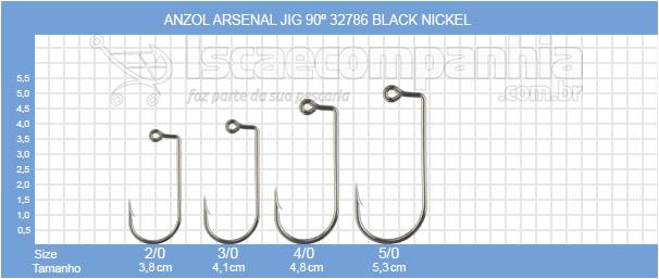 ANZOL JIG HEAD ARSENAL PESCA 90º BLACK NIKEL - C/ 10 UNIDADES