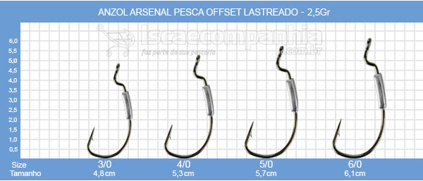 Anzol Arsenal Pesca Offset Lastreado 2,5GR - C/3UN