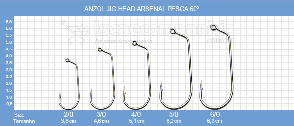 Anzol Jig Head Arsenal Pesca 60º Black Nickel - C/ 10 Unidades