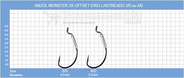 ANZOL MONSTER 3X OFFSET EWG LASTREADO 3/0 ou 4/0 - 3 UNIDADES