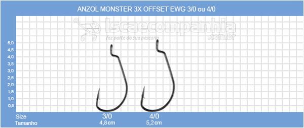 ANZOL MONSTER 3X OFFSET EWG 3/0 ou 4/0 - 3 UNIDADES