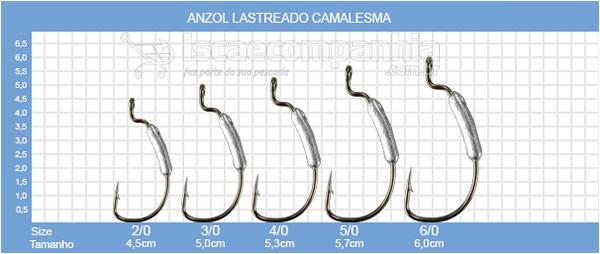 ANZOL OFFSET LASTREADO CAMALESMA 2/0, 3/0 e 4/0 - 3,7GR C/2UN