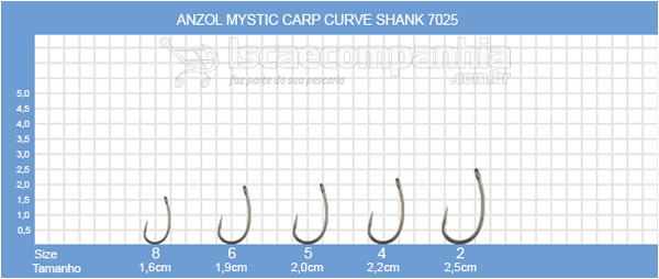 ANZOL VMC MYSTIC CURVE SHANK 7025NT - C/ 10 UN