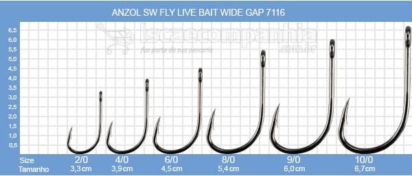 ANZOL VMC LIVE BAIT WIDE GAP 7116CB 2/0, 4/0 e 6/0 - C/ 10UN