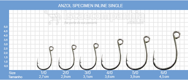 ANZOL VMC SPECIMEN IN LINE SINGLE 7266TI 4/0, 5/0 e 6/0 - C/ 10 UN