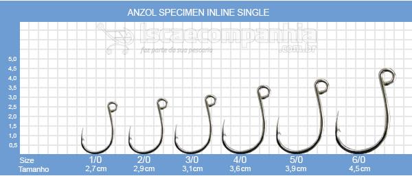 ANZOL VMC SPECIMEN IN LINE SINGLE 7266TI 1/0, 2/0 e 3/0 - C/ 10 UN