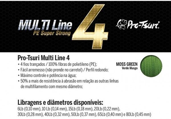 LINHA PRO-TSURI MULTIFILAMENTO 4 FIOS 40LBS 0.32MM