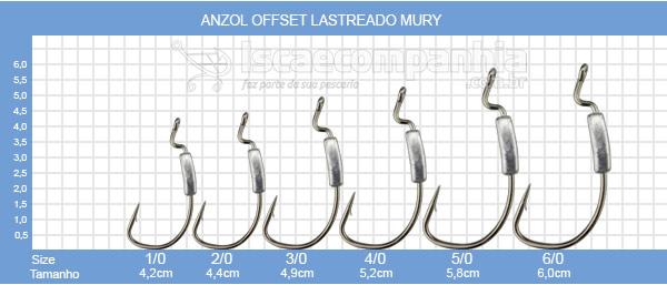 Anzol Mury Offset Lastreado 4/0 a 6/0 5gr - 2UN